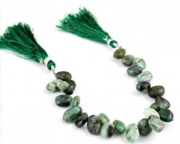 Genuine 140.00 Cts Untreated Emerald Beads Strand
