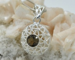 NATURAL UNTREATED SMOKY QUARTZ PENDANT 925 STERLING SILVER JE379