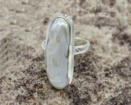 NATURAL UNTREATED PEARL RING 925 STERLING SILVER JE269
