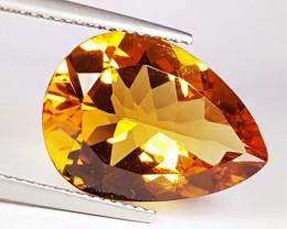 8.59 ct Wonderful Gem Golden Whiskey Pear Cut Natural Citrine
