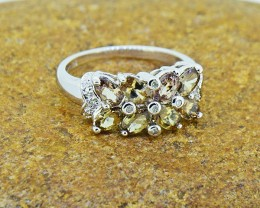 Andalusite & Diamond 925 Sterling Silver Ring  (SSR0028 )