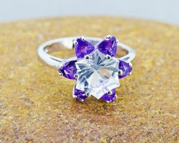 Natural Petalite & Amethyst 925 Sterling Silver Ring #8  (SSR0405 )