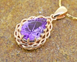 Natural Amethyst Rose Gold plated 925 Silver Pendant (SSP0407 )