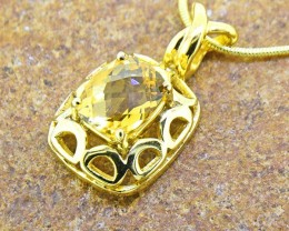 Citrine Gold Plated 925 Sterling Silver Pendant (SSR0408 )