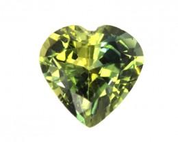 0.84cts Natural Australian Yellow Blue Parti Sapphire Heart Shape