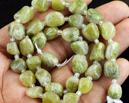 Genuine 135.00 Cts Untreated Green Garnet Beads Strand