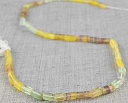 Genuine 60.00 Cts Untreated Multicolor Fluorite Beads Strand