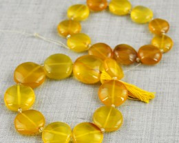 Genuine 295.00 Cts Yellow Onyx Beads Strand