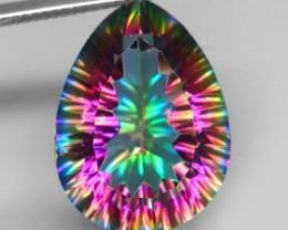 17.18ct Millenium Concave Cut Pear Mystic Azotic Quartz VVS