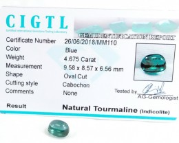 Certified|CIGTL~4.675Cts Museum Grade Blue  color Tourmaline Cab
