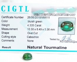 Certified|CIGTL~4.335Cts Museum Grade Green color Tourmaline Cab