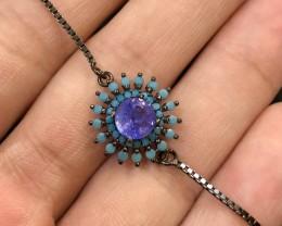16.57ct Violet Blue Tanzanite 925 Sterling Silver Bracelet