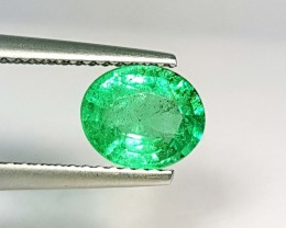 1.33 ct AAA Top Luster Green Oval Cut Natural Emerald
