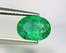 1.61 ct Wonderful Green Oval Cut Natural Emerald