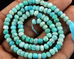 "Genuine 49.50 Cts Amazonite 13"" Long Beads Strand"
