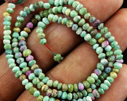Genuine 24.00 Cts Ruby Zoisite Beads Strand