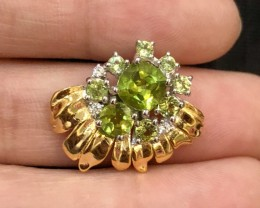 14.05ct Green Peridot 925 Sterling Silver Pendant