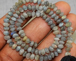 Genuine 53.00 Cts Faceted Labradorite Beads Strand