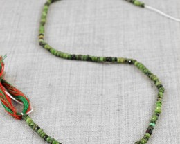 Genuine 34.50 Cts Ruby Zoisite Faceted Beads Strand