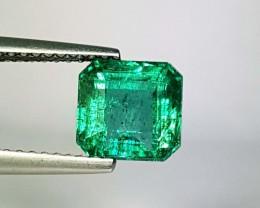 2.12 ct Excellent Gem Top Green Square Cut Natural Emerald
