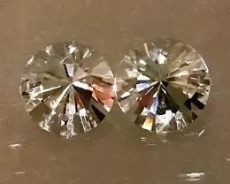 Glittering Silver White Topaz Pair 8.8mm VVS gems - No Reserve