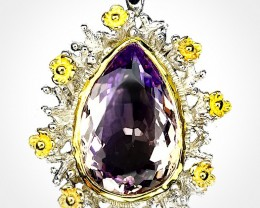 Natural Ametrine pendant - .925 Sterling Silver and 14kt Gold