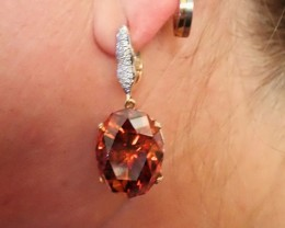 WORLD ONLY ! 80 CT SPHALERITE  EARRINGS  with 216 DIAMONDS . CERTIF