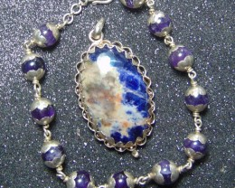 Sodalite jewellery designed pendent silver 137.35 cts
