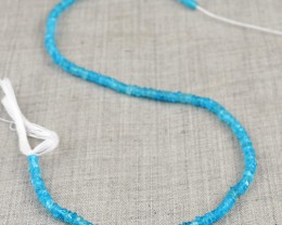 Genuine 35.00 Cts Blue Apatite Faceted Beads Strand