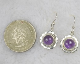 NATURAL UNTREATED AMETHYST EARRINGS 925 STERLING SILVER JE479