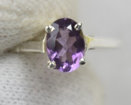 NATURAL UNTREATED AMETHYST RING 925 STERLING SILVER JE480