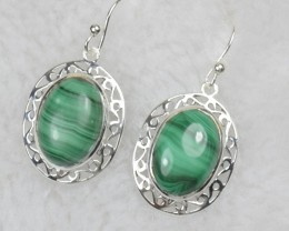 NATURAL UNTREATED MALACHITE EARRINGS 925 STERLING SILVER JE481