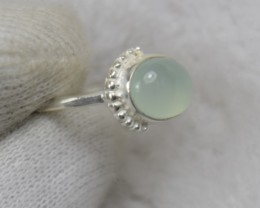 NATURAL UNTREATED CHALCEDONY RING 925 STERLING SILVER JE484