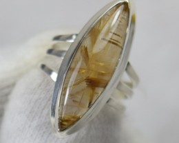 NATURAL UNTREATED RUTILATED QUARTZ RING 925 STERLING SILVER JE486