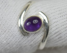 NATURAL UNTREATED AMETHYST RING 925 STERLING SILVER JE488