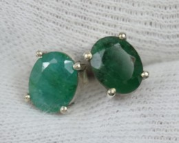 NATURAL UNTREATED EMERALD EARRINGS 925 STERLING SILVER JE489