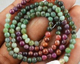 Genuine 45.00 Cts Round Ruby Zoisite Beads Strand