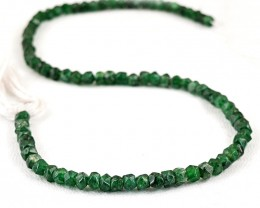 Genuine 65.00 Cts Green Jade Faceted Beads Strand