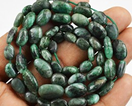 Genuine 95.00 Cts Untreated Emerald Beads Strand