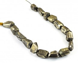 Genuine 365.00 Cts Golden Pyrite Faceted Beads Strand