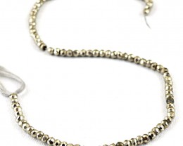 Genuine 70.00 Cts Golden Pyrite Faceted Beads Strand