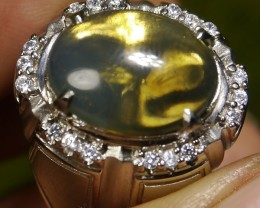 61.05 CT UNTREATED GREENISH CLEAR INDONESIAN FIRE OPAL WITH RING