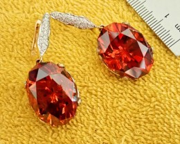 WORLD ONLY  80 CT SPHALERITE  EARRINGS  with 216 DIAMONDS .RARE AND INCREDI