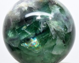 52mm Rainbow Green Purple Fluorite Crystal Sphere China (STFS-CM3-25)
