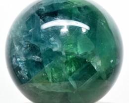 54mm Rainbow Blue Green Fluorite Crystal Sphere Ball China STFS-CM3-27