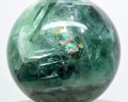 52mm Rainbow Banded Green Purple Fluorite Sphere Ball China STFSCM3-28