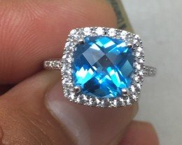 (B5) Cert. $1350 Nat. 3.65ct Blue Topaz Ring 10K WG 2.87gr