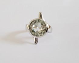Green amethyst 925 Sterling silver ring #349