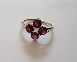 Rhodolite 925 Sterling silver ring #421