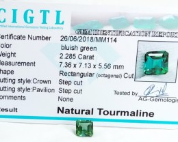 Certified|CIGTL~2.285 Cts Museum Grade Green color Tourmaline Gem